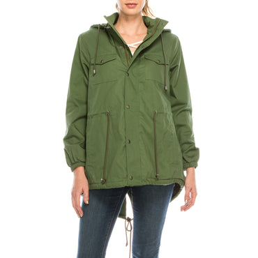 Urban Diction Hunter Green Faux-Fur Lined Anorak Jacket W/Removable Hood Zipper and Button Up | Urban Diction | Coats