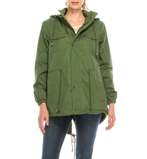 Urban Diction Hunter Green Faux-Fur Lined Anorak Jacket W/Removable Hood Zipper and Button Up - W.A.Y