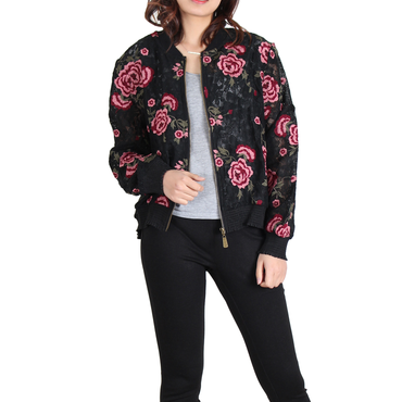 Urban Diction Black & Pink Roses Lace Jacket | Urban Diction | Jackets