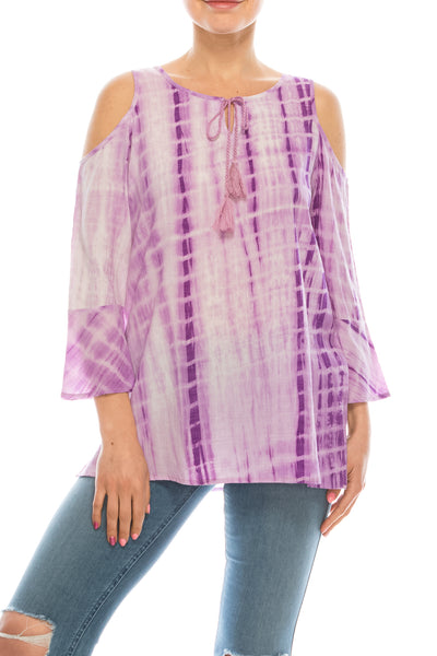 Urban Diction Purple Tie-Dye Cutout-Shoulder Top | Urban Diction | Knits & Tees