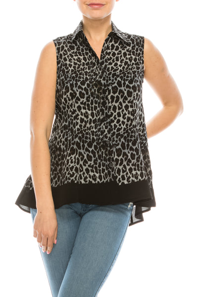 Urban Diction Grey Button Down Sleeveless Leopard Collard Blouse (Plus Size) - W.A.Y