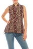 Urban Diction Burgundy Button Down Sleeveless Leopard Collard Blouse (Plus Size) - W.A.Y