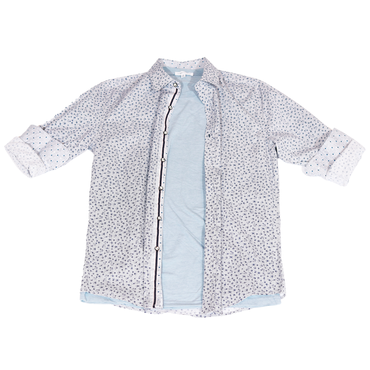 Urban Diction White/Blue Men's Stitch Pattern Design Long Sleeve Button-Up Collared Shirt | Urban Diction | Men's Shirts