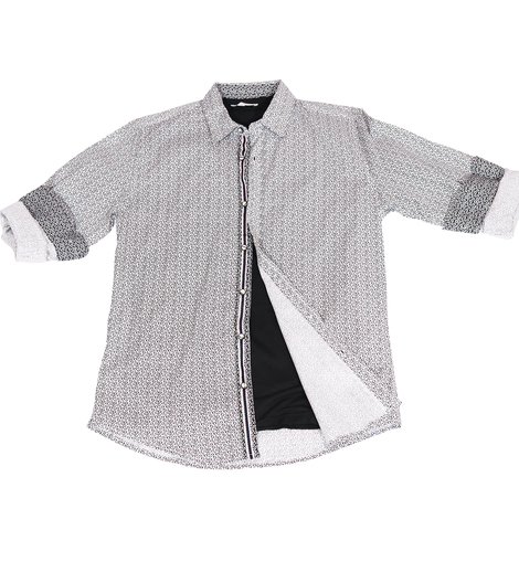 Urban Diction Men's White/Black Unique Design Print Long Sleeve Button-Up Collared Shirt - W.A.Y