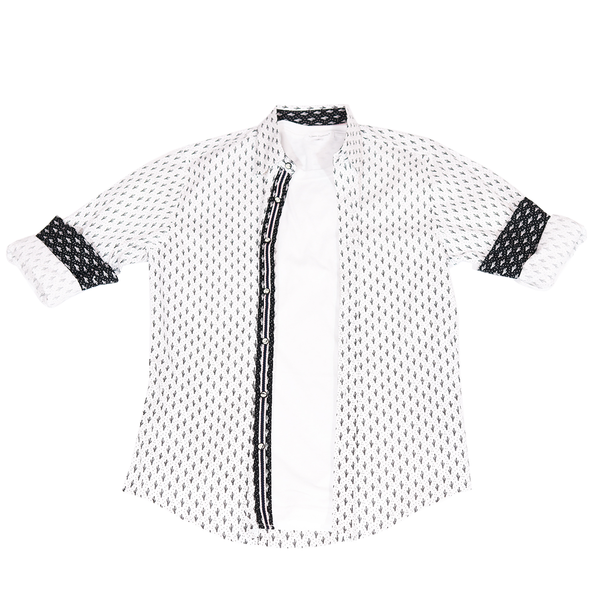 Urban Diction White Men's Cactus Cowboy Pattern Long Sleeve Button-Up Collared Shirt | Urban Diction | Men's Shirts