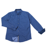 Urban Diction Men's Navy Triangle Dot Pattern Long Sleeve Button-Up Collared Shirt - W.A.Y