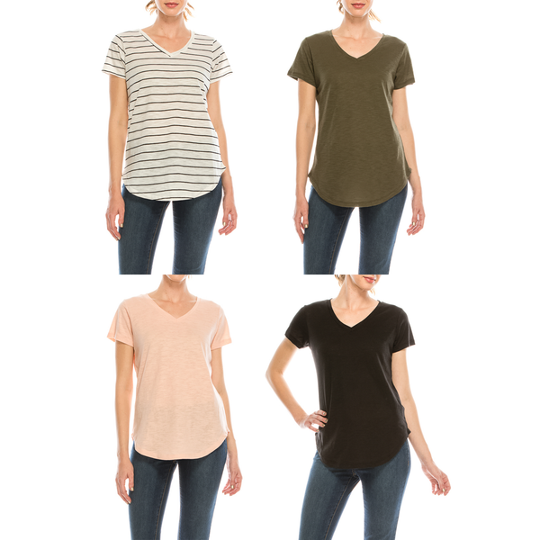 Urban Diction 4 Pack Women's V-Neck Stretch Short Sleeve T-Shirts (Stripes - Olive - Peach - Black) | Urban Diction | Knits & Tees