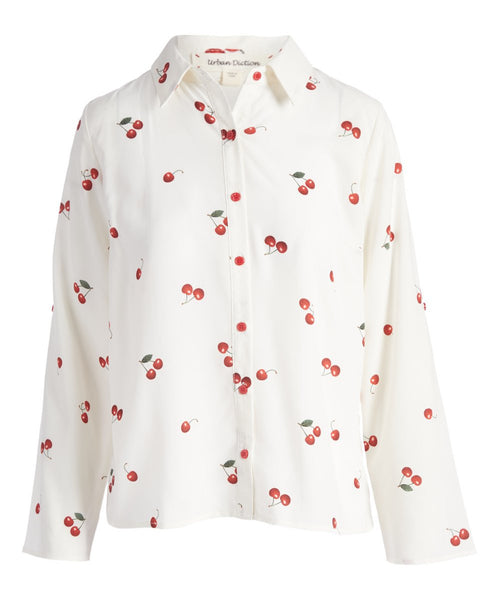 Urban Diction White & Red Cherries Hi-Low Button-Up Top - Women | Urban Diction | Blouses & Button-Downs