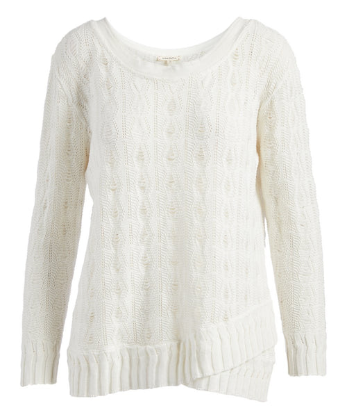 Urban Diction White & Yellow Openwork Wrap-Hem Sweater - W.A.Y