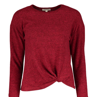Urban Diction Red Front-Tie Hacci Long-Sleeve Top | Urban Diction | Pullovers