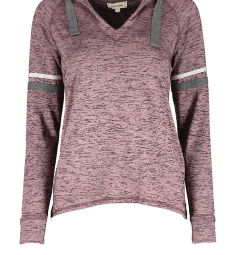 Urban Diction Mauve Hacci V-Neck Hoodie | Urban Diction | Sweater