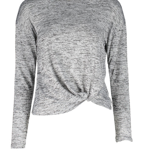 Urban Diction Light Gray Front-Tie Hacci Long-Sleeve Top | Urban Diction | Sweater