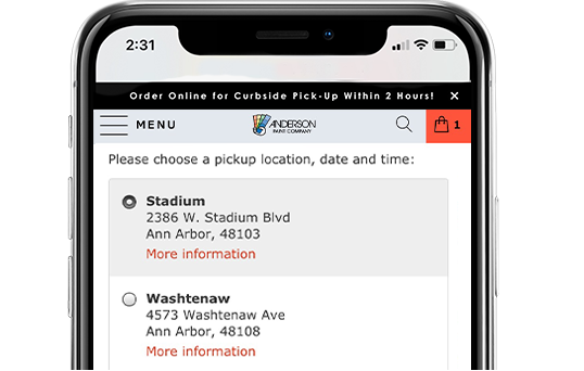 A screenshot of Anderson Paint's mobile website, showing the store pick-up or delivery option on the checkout page.