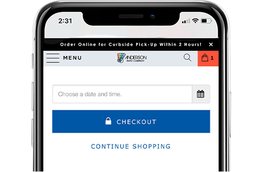A screenshot of Anderson Paint's mobile website, showing where customers can select a date for store pick-up or delivery for their order, and the checkout button.