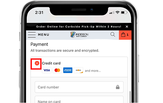 A screenshot of Anderson Paint's mobile website, showing the payment page, where contractors can choose to pay in store.