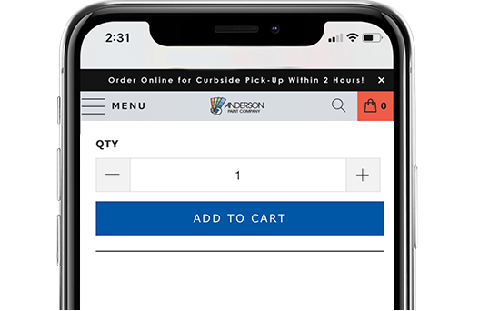 A screenshot of Anderson Paint's mobile website, showing the add to cart button on a project page.
