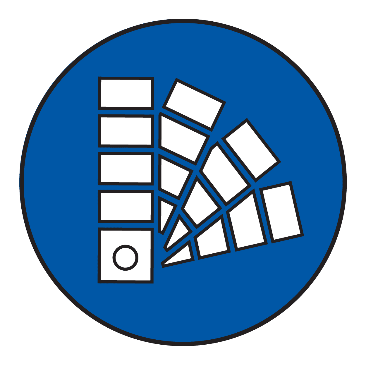 blue icon of paint color chips.