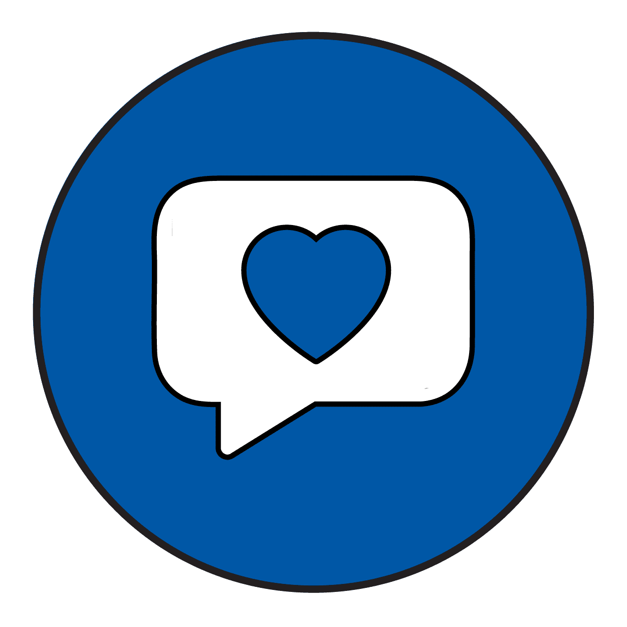 A blue icon of a speech bubble with a heart inside.