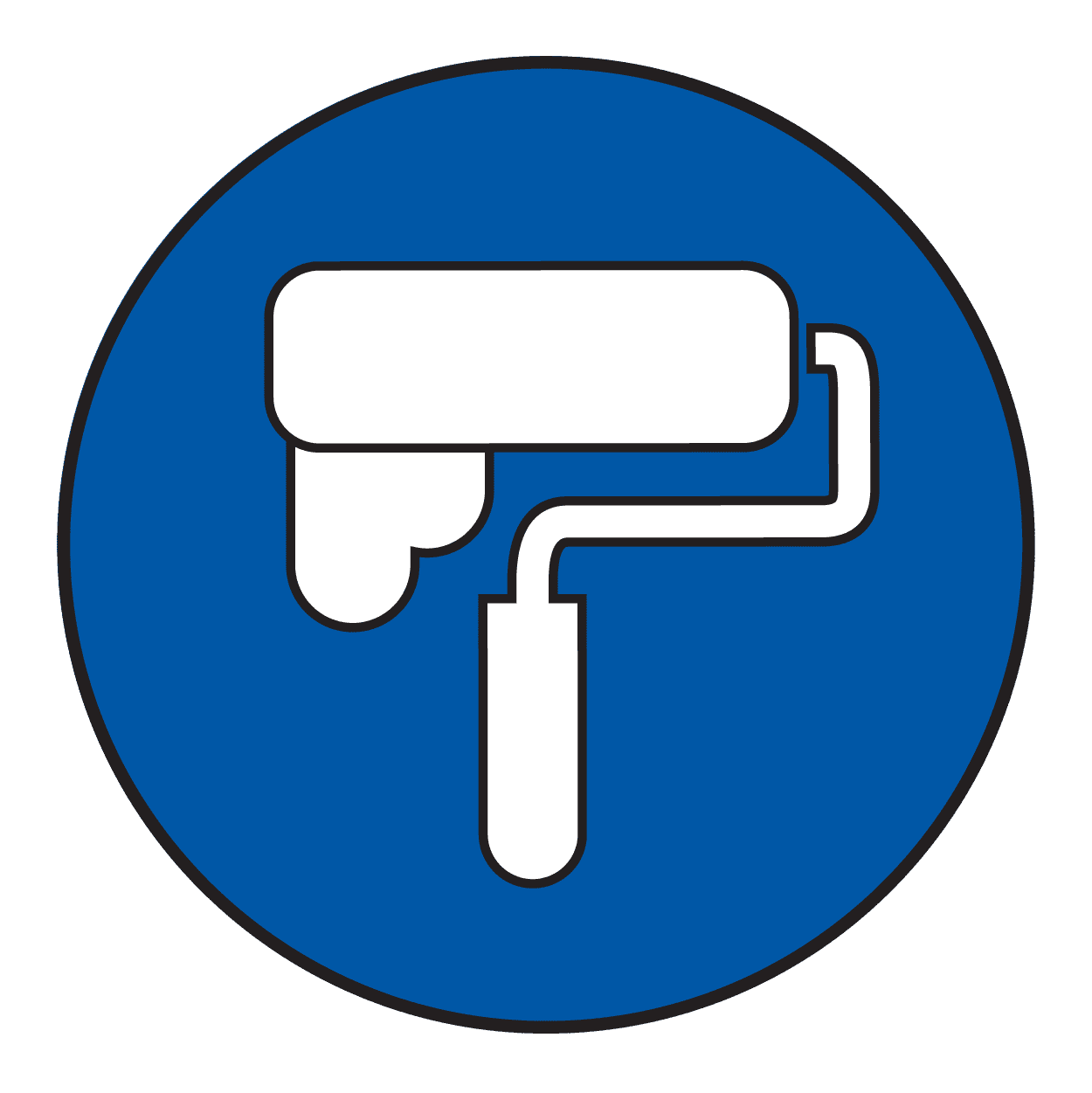 Light blue icon of a paint roller.