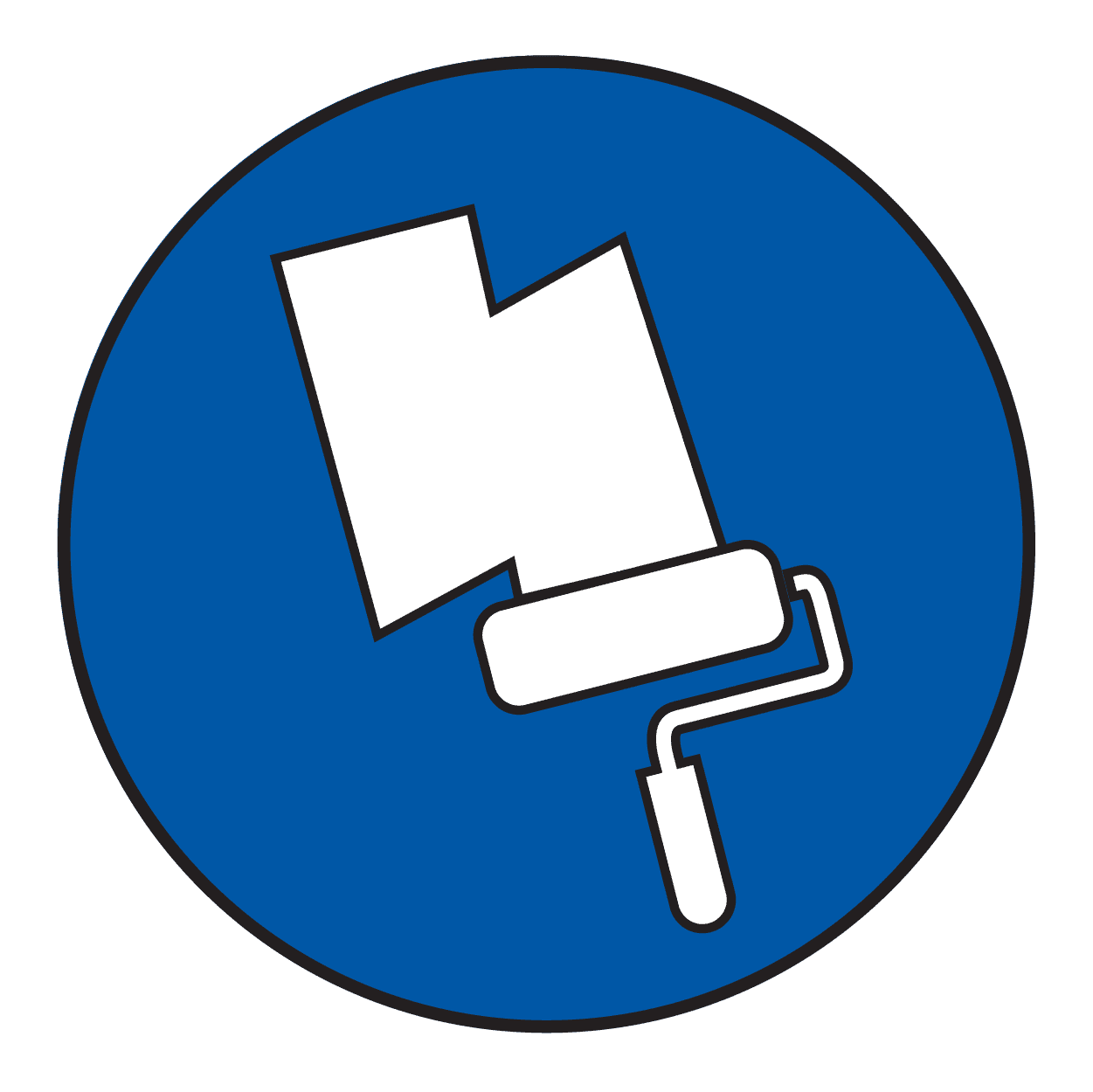 Blue icon of a paint roller and primer.