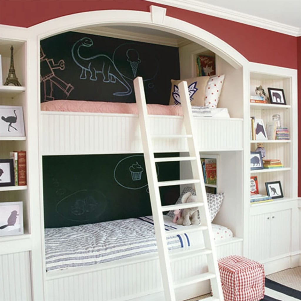 Benjamin Moore Chalkboard paint in a kids bedroom, in a classic black color