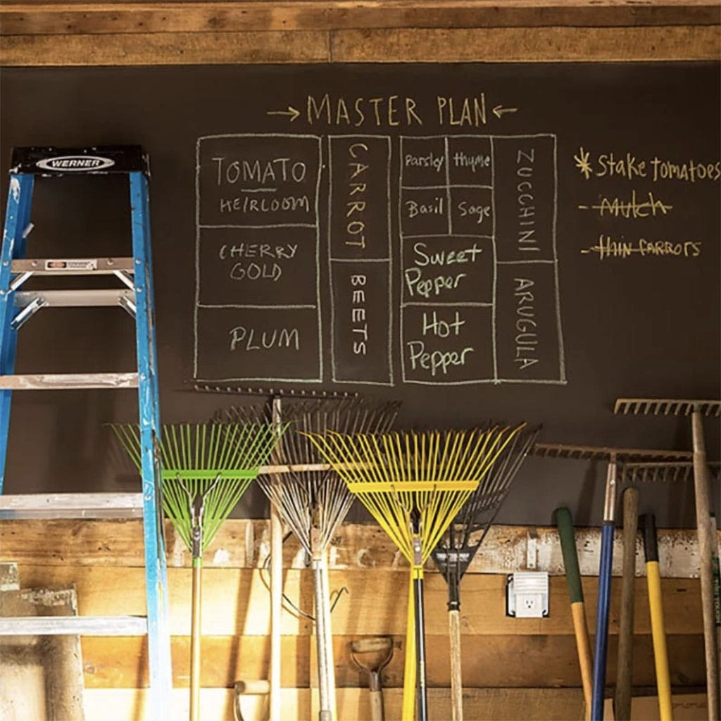 Benjamin Moore Chalkboard paint in a garden shed in a vintage brown color to compliment the warm wood tones.