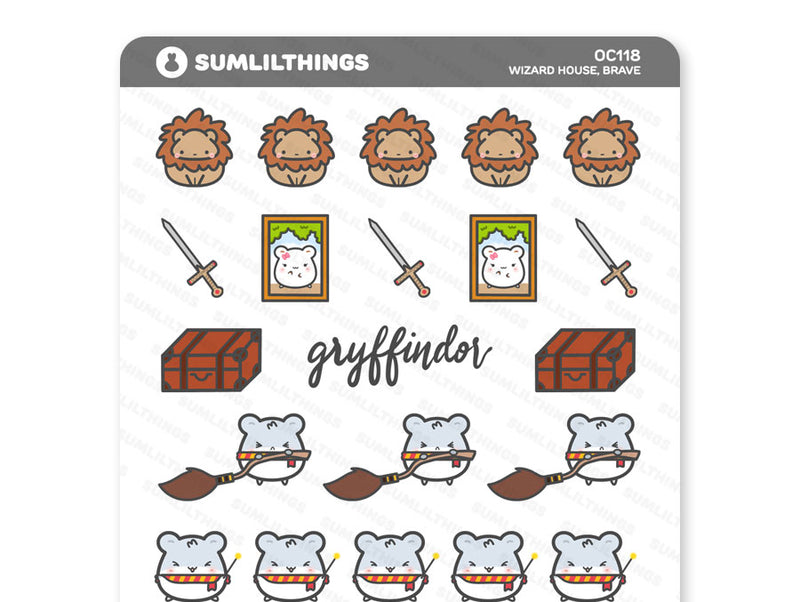 OC118 - Wizard House, Brave Oatmeal Cinnamon Stickers