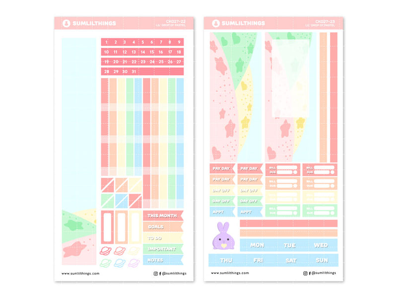 CK027 - Drop of Pastel - Monthly View // Hobonichi Weeks
