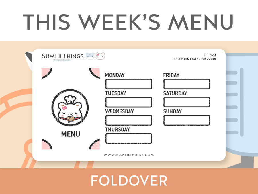 (OC129) This Week's Menu Foldover