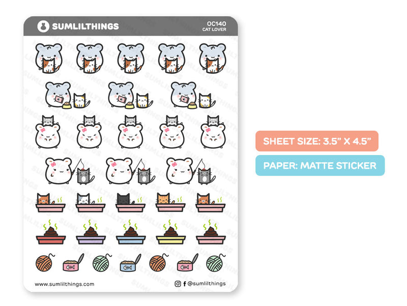 OC140 - Cat Lover Stickers