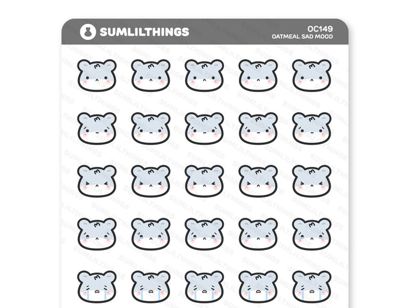 OC149 - Oatmeal Sad Mood Stickers