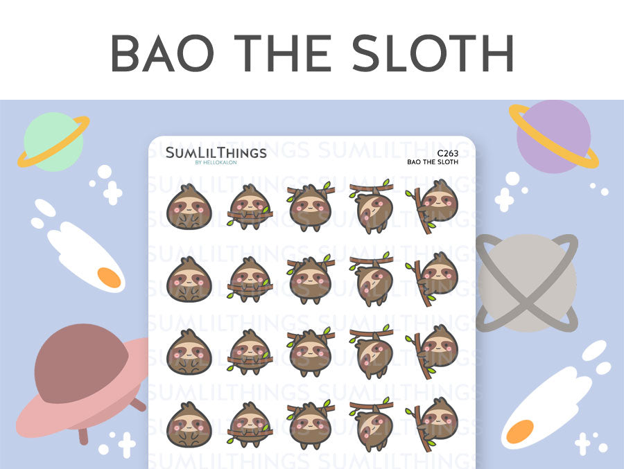 (C263) Bao the Sloth Stickers