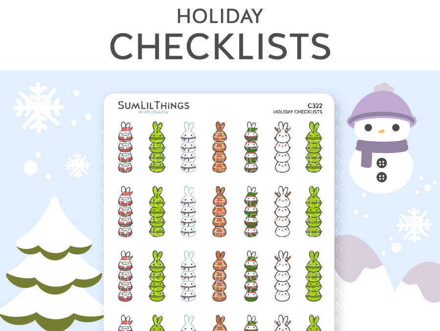 (C322) Holiday Lil Checklist Stickers