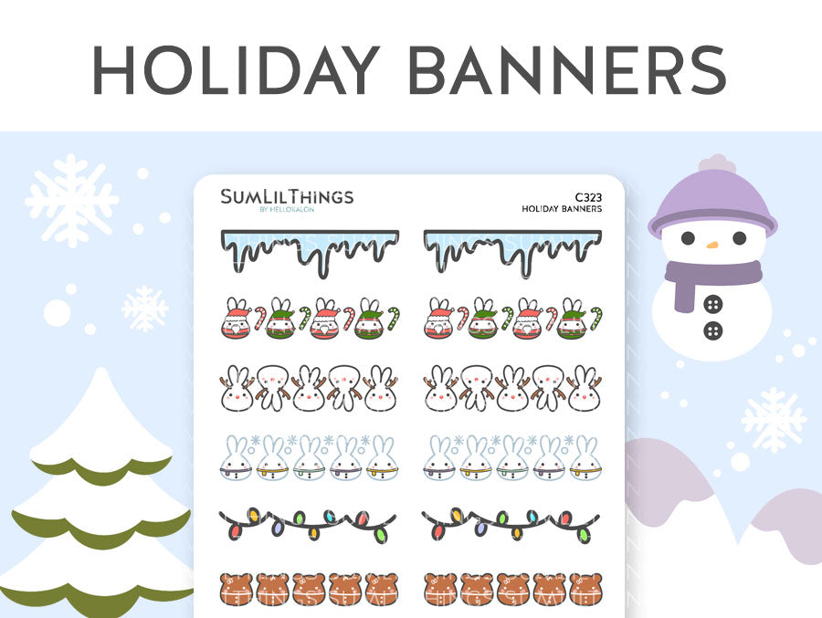 (C323) Holiday Banner Stickers