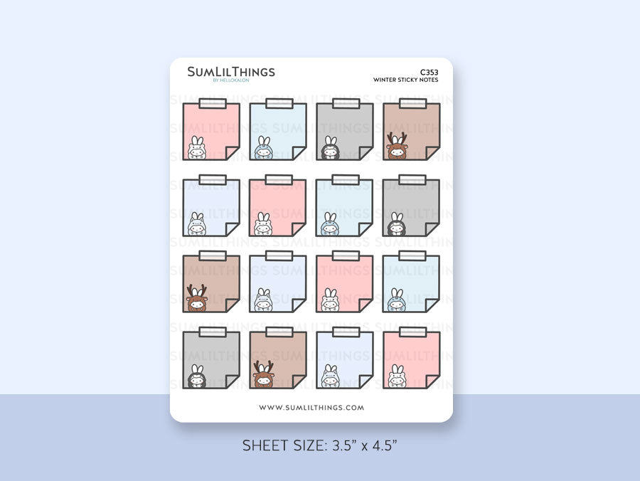 (C353) Winter Onesies Hobo Sticky Notes Stickers