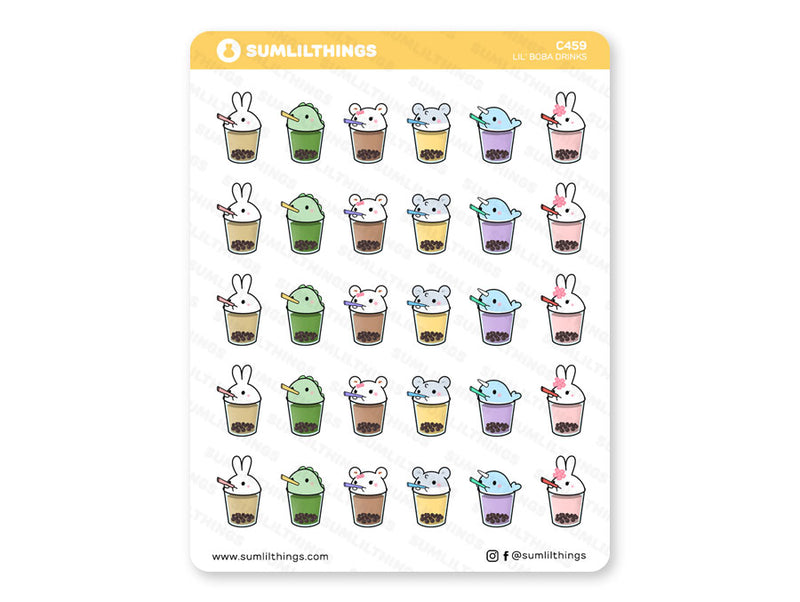 C459 - Lil' Boba Drinks // Boba Stickers