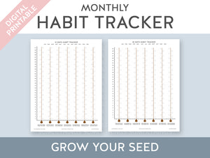 【Digital Product】A5 & Letter Size | 30 and 31 Day Monthly Habit Tracker || Grow Your Habits