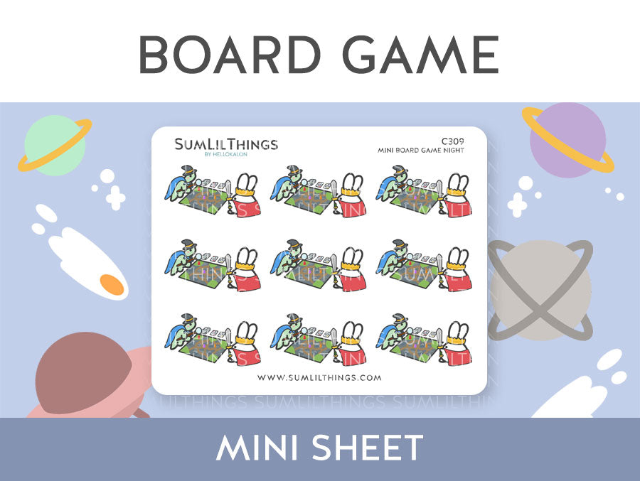 (C309) Mini Board Game Night Lil Stickers