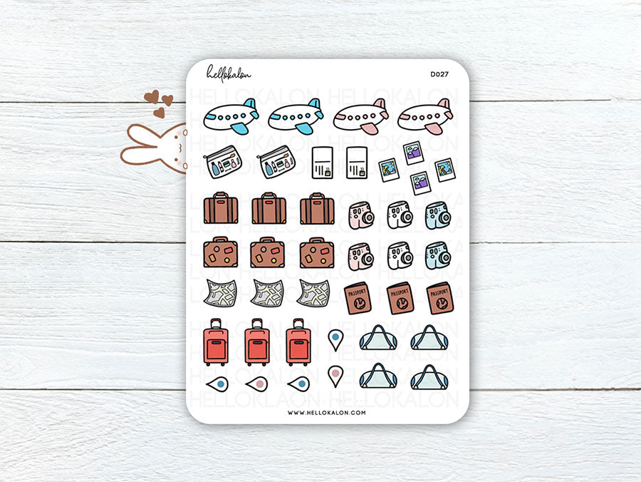 (D027) Kawaii Travel Stickers