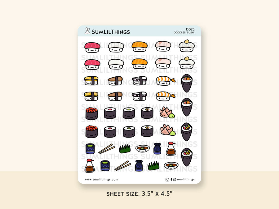 (D025) Kawaii Sushi Stickers