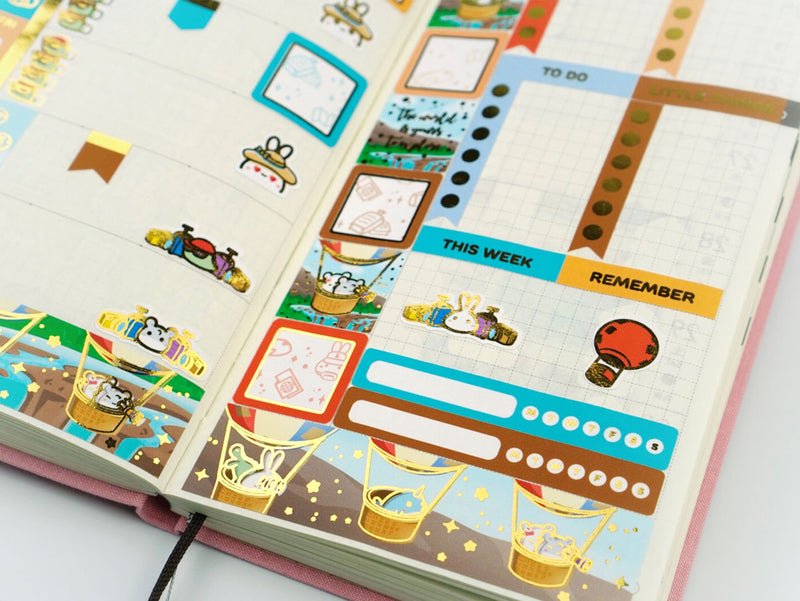 (CK020) Trip Around the World GOLD FOILED Hobonichi Weeks Kit || June Subscription