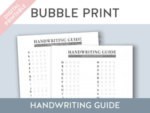 【Digital Product】Bubble Print Handwriting Practice Guide