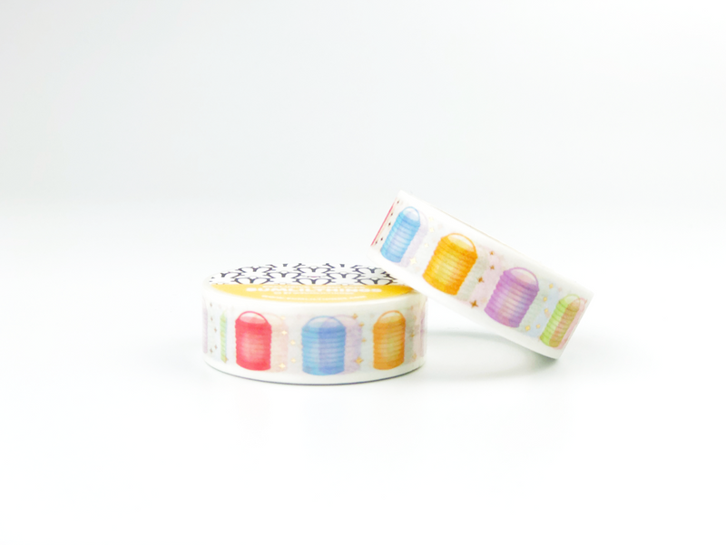Pastel Lanterns Washi Tape - GOLD FOILED