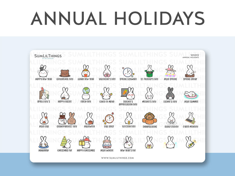 (WH013) Annual 2020 Holidays