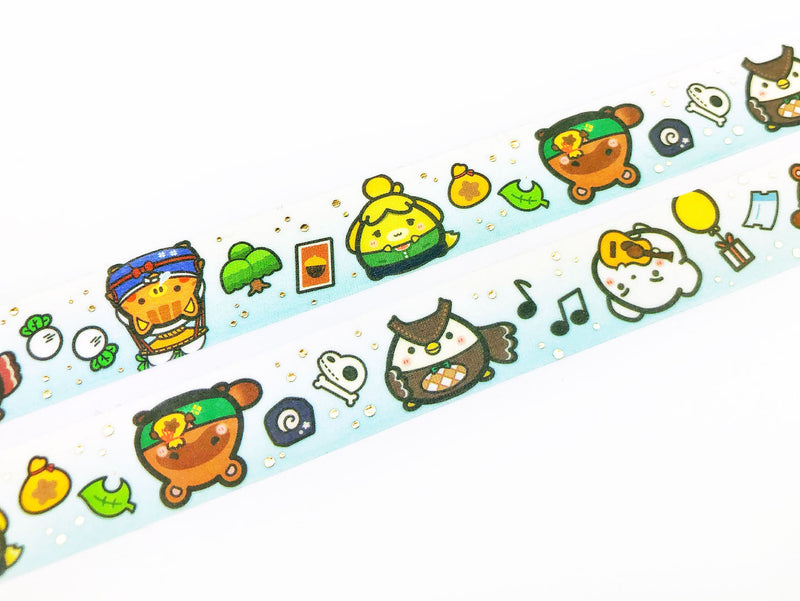 Animal Crossing Washi Tape - GOLD FOILED