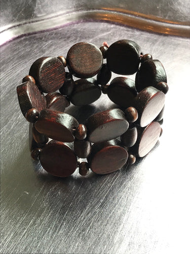 Beach Bracelet - Wood Round Stretch Bracelet