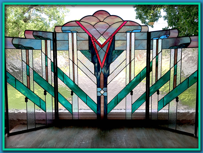 Fireplace Screen - Stained Glass