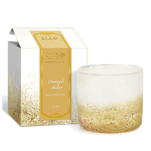 D.L & Co - Honeyed Amber Pebble Candle Straight - 14 oz
