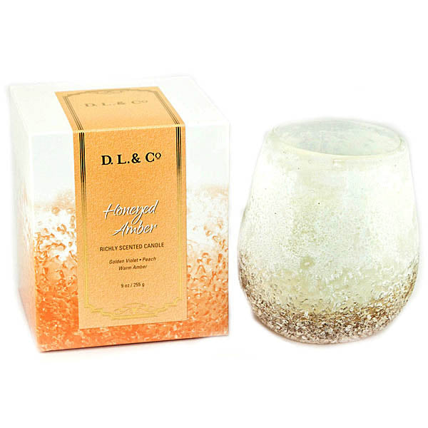 D.L. & Co - Honeyed Amber Pebble Round Candle - 9 oz