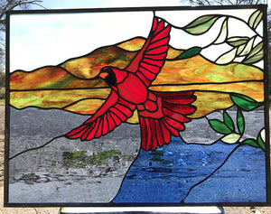 Cardinal Bird flying - Stained Glass